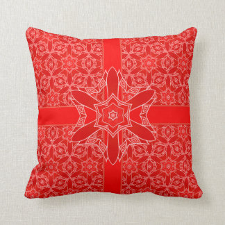 Vintage Red Lace and Ribbon Cushion