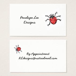 Vintage Red Ladybug Minimalist Classy Business Card