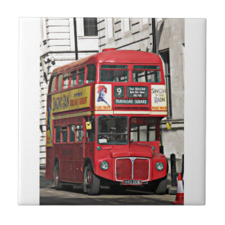 Vintage red London Bus Small Square Tile