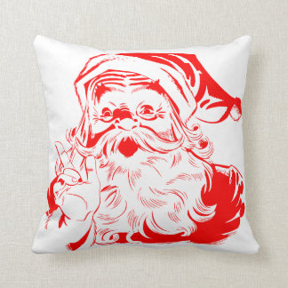 Vintage Red Merry Christmas Santa Claus Throw Cushions