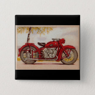 Vintage Red Motorcycle 15 Cm Square Badge