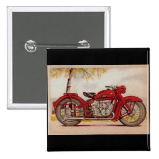 Vintage Red Motorcycle 15 Cm Square Badge