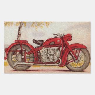 Vintage Red Motorcycle Rectangular Sticker