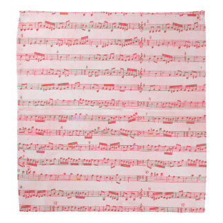 Vintage Red Musical Sheet Bandana