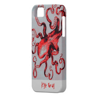 vintage red octopus iphone 5 case
