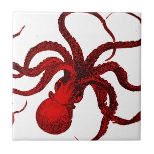 Vintage Red Octopus Tile