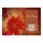 vintage red Paeonia Double Happines Tea Party 5x7 Paper Invitation Card