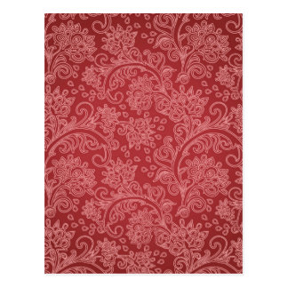 Vintage Red Paisley Damask Design Postcard