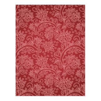 Vintage Red Paisley Damask Design Postcard