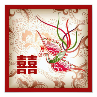 Vintage Red Phoenix Chinese Wedding Invitation