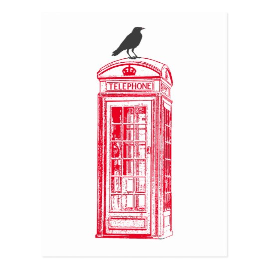 Vintage Red Phone Booth & Raven Postcard