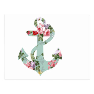 Vintage Red Pink Green Floral Pattern Anchor Postcard