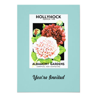 Vintage Red & Pink Ruffled Hollyhock Seed Packet 13 Cm X 18 Cm Invitation Card