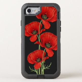 Vintage Red Poppies Botanical OtterBox Defender iPhone 7 Case