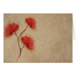 Vintage Red Poppies Parchment Look Greeting Card