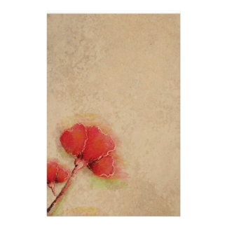 Vintage Red Poppies Parchment Look Stationery