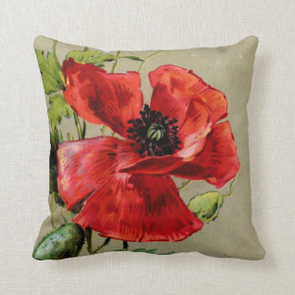 Vintage Red Poppy Cushion
