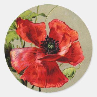 Vintage Red Poppy Round Sticker