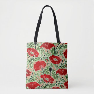 Vintage Red Poppy Tote Bag