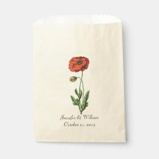 Vintage Red Poppy Wedding Favor Bag
