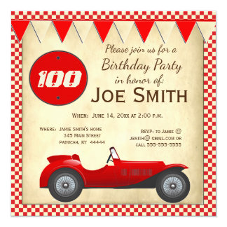 Vintage red race car and flags 100 birthday card