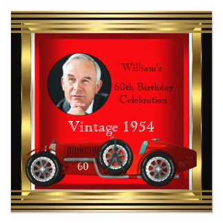 Vintage Red Racing Car Mans 60th Birthday Photo 13 Cm X 13 Cm Square Invitation Card