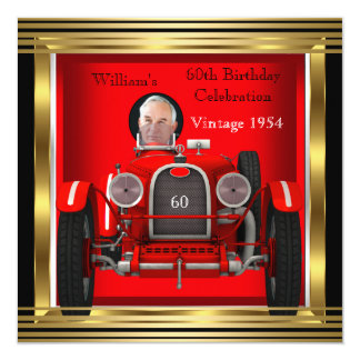 Vintage Red Racing Car Mans 60th Birthday Photo 2 13 Cm X 13 Cm Square Invitation Card