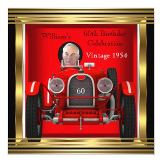 Vintage Red Racing Car Mans 60th Birthday Photo 2 13 Cm X 13 Cm Square Invitation Card