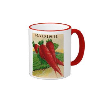 vintage red radish seed packet mug