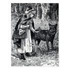 Vintage Red Riding Hood in Woods With Wolf Postcard