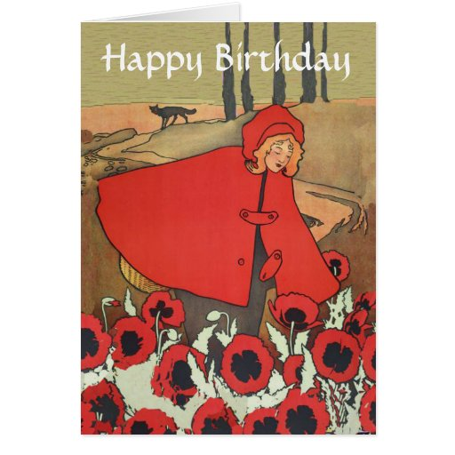Vintage Red Riding Hood Poppy Flowers Birthday Greeting Card