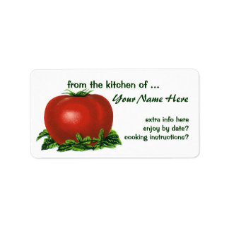 Vintage Red Ripe Tomato, Vegetables and Fruits Label