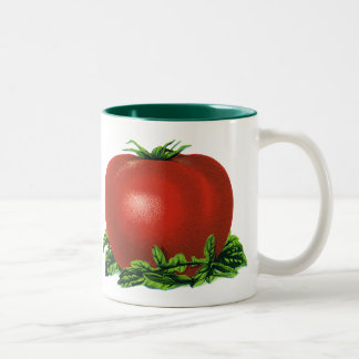 Vintage Red Ripe Tomato, Vegetables and Fruits Two-Tone Coffee Mug
