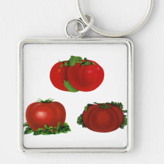 Vintage Red Ripe Tomatoes Food, Fruits, Vegetables Silver-Colored Square Key Ring