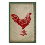Vintage Red Rooster Shabby Chic Grunge Chicken Print