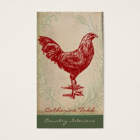 Vintage Red Rooster Shabby Chic Interior Design