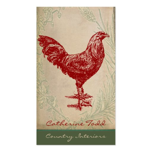 Vintage Red Rooster Shabby Chic Interior Design Pack Of Standard Business Cards