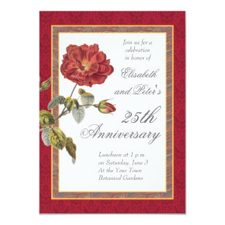 Vintage Red Rose 25th Wedding Anniversary Party Personalized Announcement