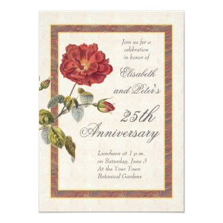 Vintage Red Rose 25th Wedding Anniversary Party 11 Cm X 16 Cm Invitation Card