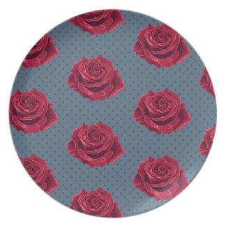 Vintage Red Rose and Navy Polka Dot Melamine Plate