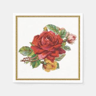 Vintage Red Rose Floral paper napkins