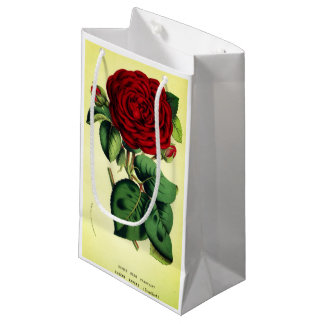 Vintage red rose flower yellow background gift bag