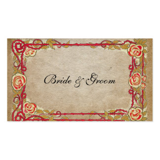 Vintage Red Rose Frame Place Cards Business Card Templates
