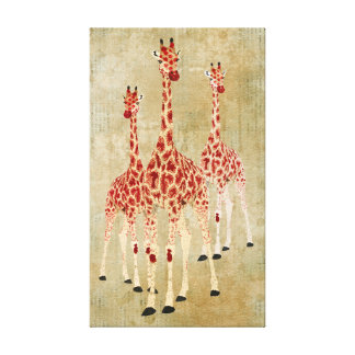 Vintage Red Rose Giraffes Canvas Stretched Canvas Print