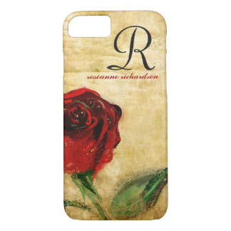Vintage Red Rose Monogram iPhone 7 case