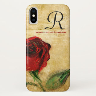 Vintage Red Rose Monogram iPhone X Case