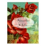Vintage Red Rose Post Card