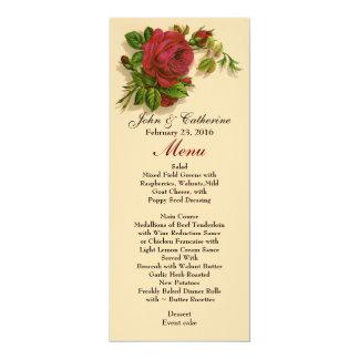 Vintage Red Rose Skinny Wedding Table Menu 10 Cm X 24 Cm Invitation Card