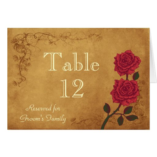 Vintage Red Rose Table Seating Name Card