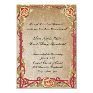 Vintage Red Rose Wedding Invitation